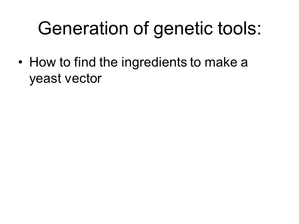 Generation of genetic tools: How to find the ingredients to make a yeast vector