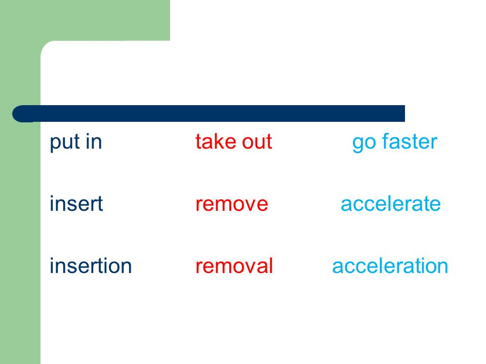 put in take out go faster insertremove accelerate insertionremoval acceleration