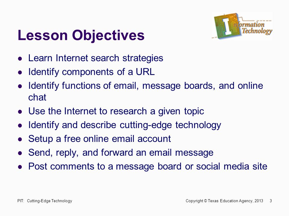 Lesson Objectives Learn Internet search strategies Identify components of a URL Identify functions of email, message boards, and online chat Use the I