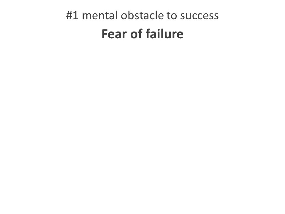 #1 mental obstacle to success Fear of failure