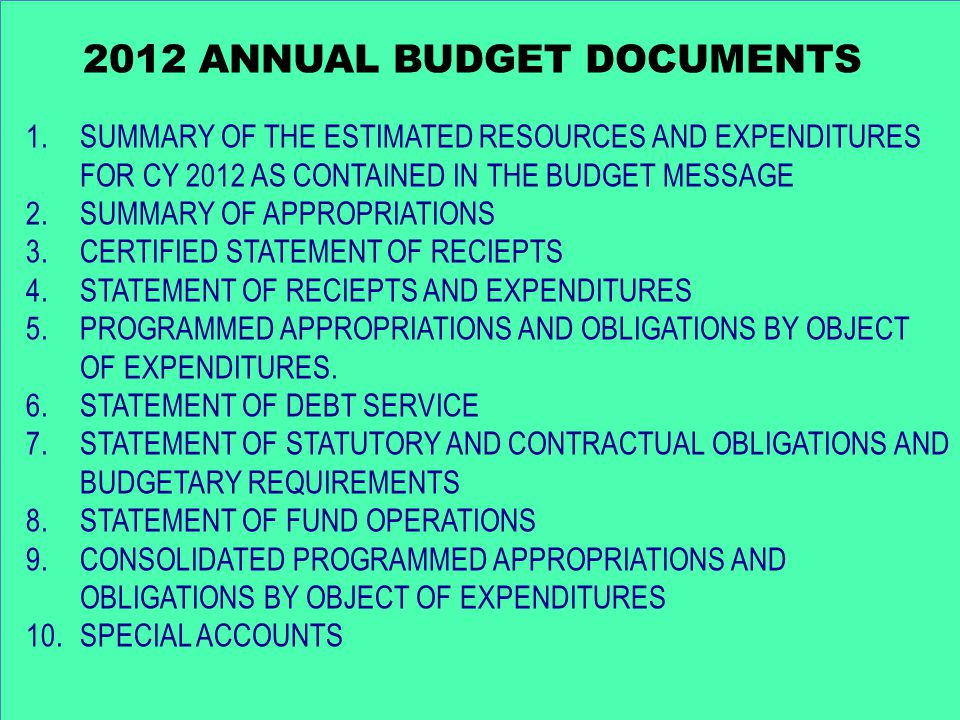 2012 ANNUAL BUDGET DOCUMENTS 1.SUMMARY OF THE ESTIMATED RESOURCES AND EXPENDITURES FOR CY 2012 AS CONTAINED IN THE BUDGET MESSAGE 2.SUMMARY OF APPROPRIATIONS 3.CERTIFIED STATEMENT OF RECIEPTS 4.STATEMENT OF RECIEPTS AND EXPENDITURES 5.PROGRAMMED APPROPRIATIONS AND OBLIGATIONS BY OBJECT OF EXPENDITURES.
