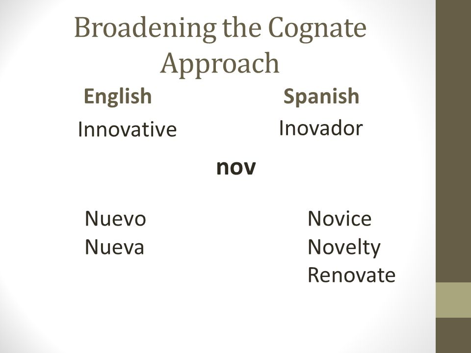 Broadening the Cognate Approach English Innovative Spanish Inovador nov Nuevo Nueva Novice Novelty Renovate