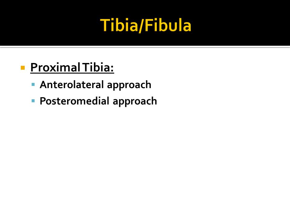  Proximal Tibia:  Anterolateral approach  Posteromedial approach