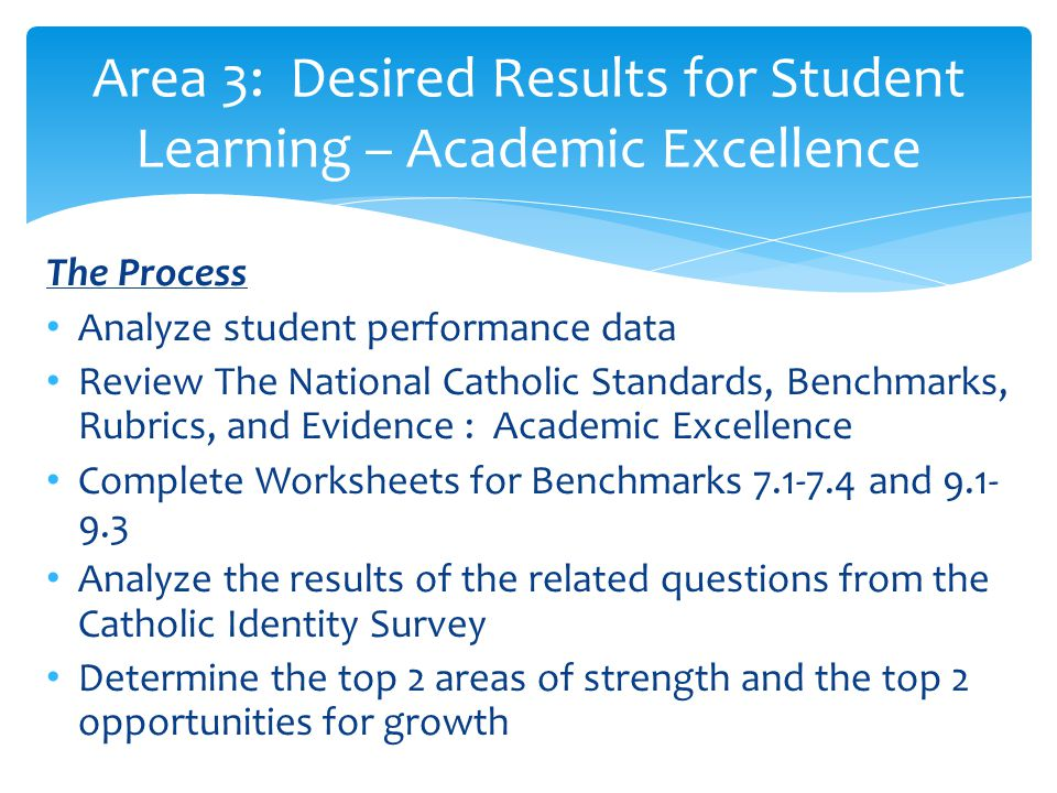 The Process Analyze student performance data Review The National Catholic Standards, Benchmarks, Rubrics, and Evidence : Academic Excellence Complete Worksheets for Benchmarks 7.1-7.4 and 9.1- 9.3 Analyze the results of the related questions from the Catholic Identity Survey Determine the top 2 areas of strength and the top 2 opportunities for growth Area 3: Desired Results for Student Learning – Academic Excellence