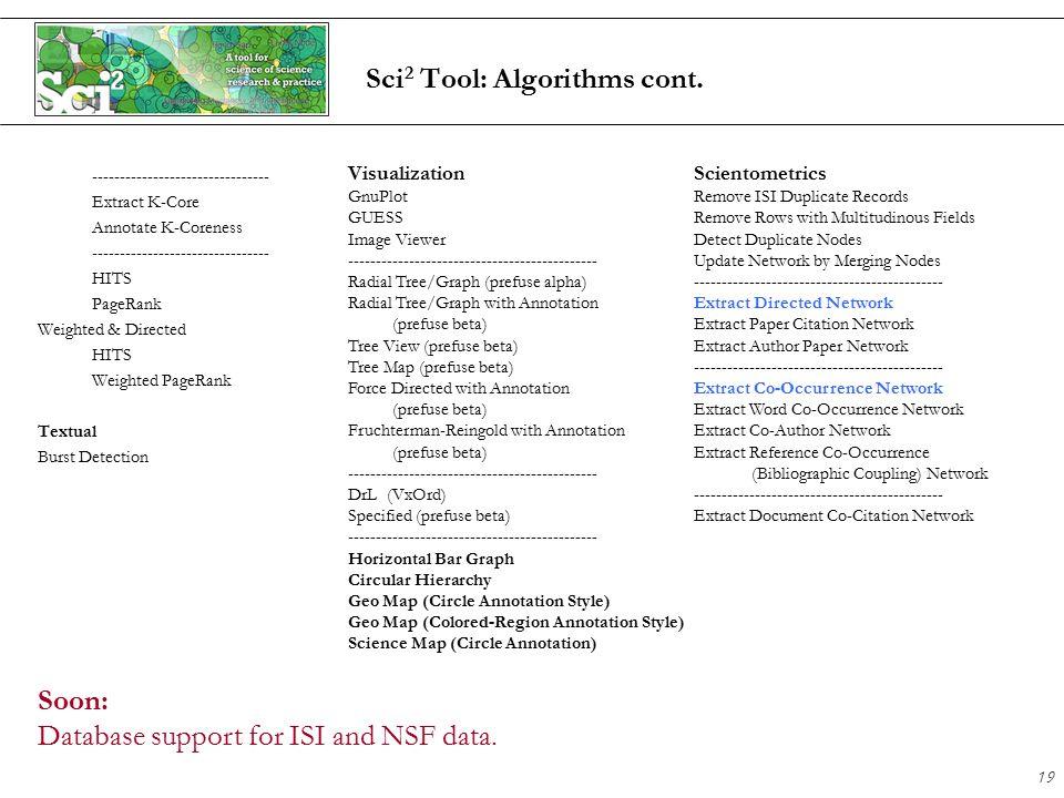 19 Sci 2 Tool: Algorithms cont.