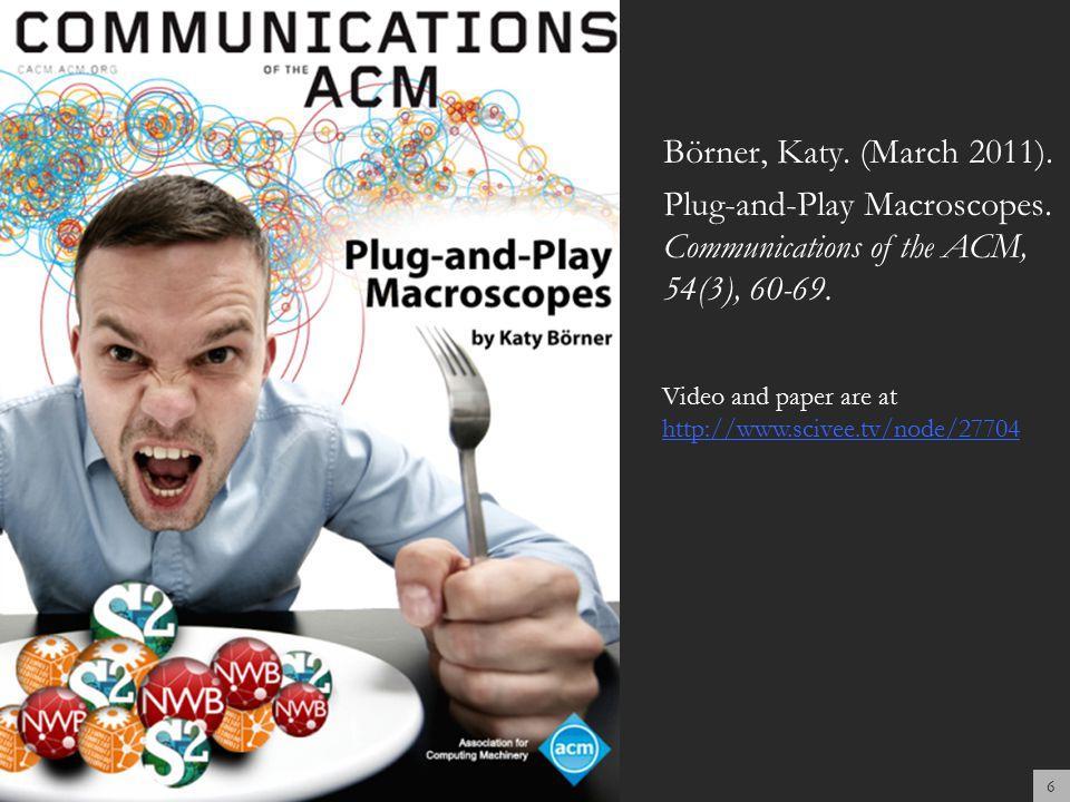 Börner, Katy. (March 2011). Plug-and-Play Macroscopes.