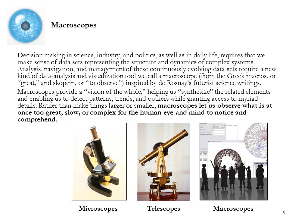 Macroscopes Decision making in science, industry, and politics, as well as in daily life, requires that we make sense of data sets representing the structure and dynamics of complex systems.