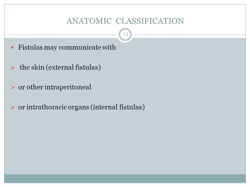 ANATOMIC CLASSIFICATION Fistulas may communicate with  the skin (external fistulas)  or other intraperitoneal  or intrathoracic organs (internal fistulas) 11