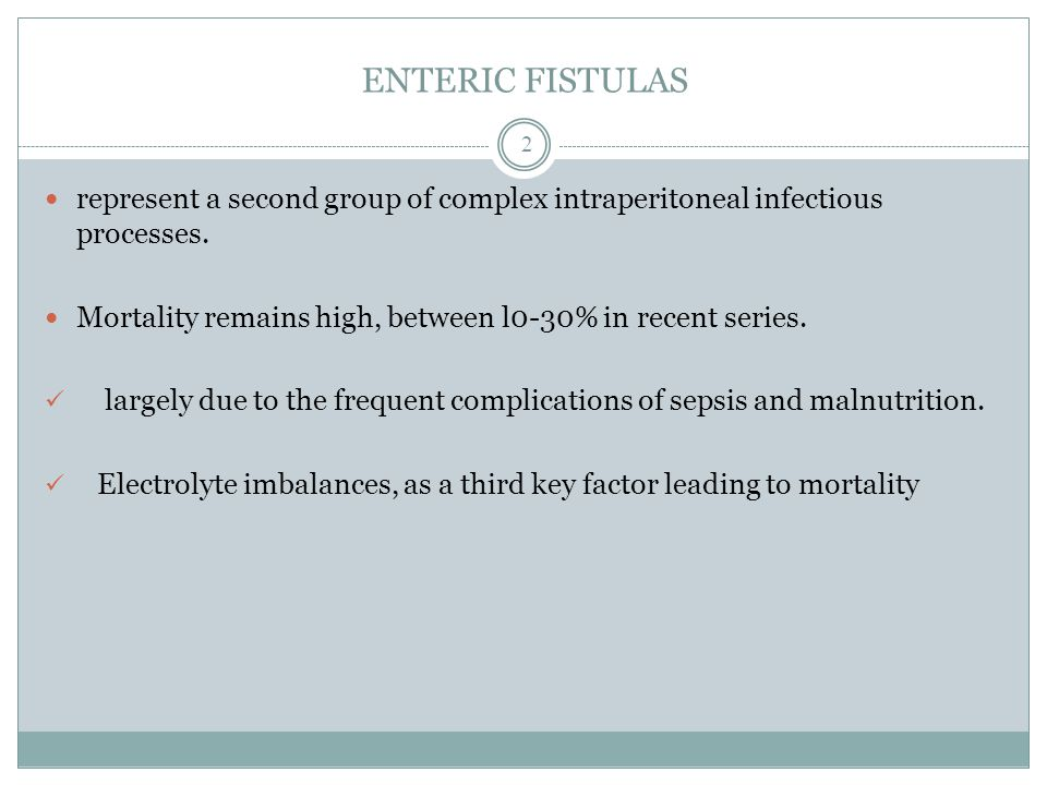 ENTERIC FISTULAS represent a second group of complex intraperitoneal infectious processes.