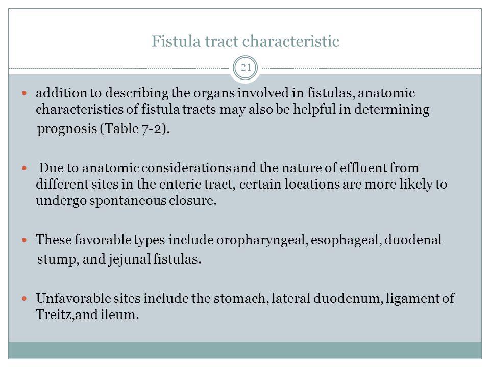 Fistula tract characteristic addition to describing the organs involved in fistulas, anatomic characteristics of fistula tracts may also be helpful in determining prognosis (Table 7-2).
