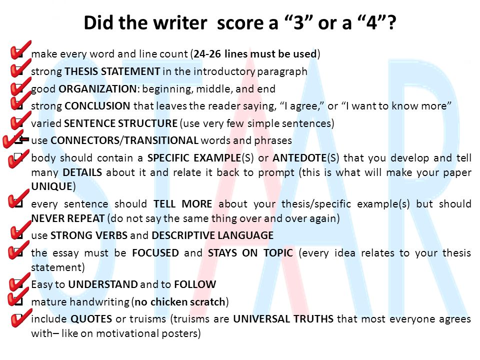 "Did the writer score a ""3"" or a ""4""?  make every word and line count (24-26 lines must be used)  strong THESIS STATEMENT in the introductory paragra"