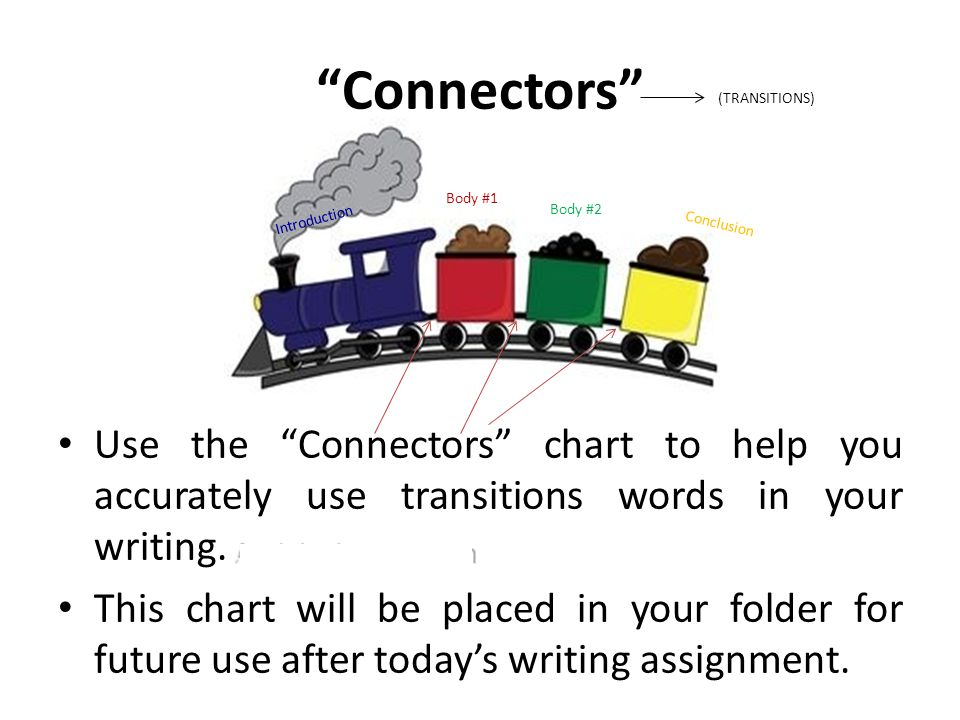 """Connectors"" Use the ""Connectors"" chart to help you accurately use transitions words in your writing. This chart will be placed in your folder for fut"