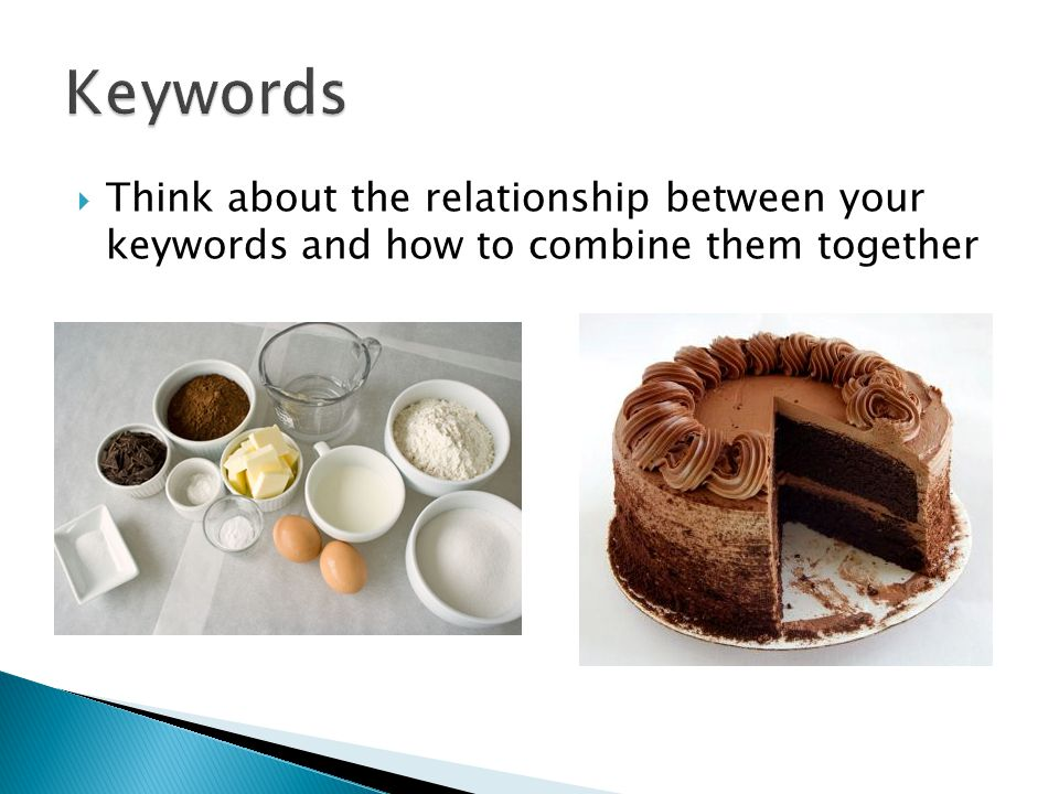  Think about the relationship between your keywords and how to combine them together