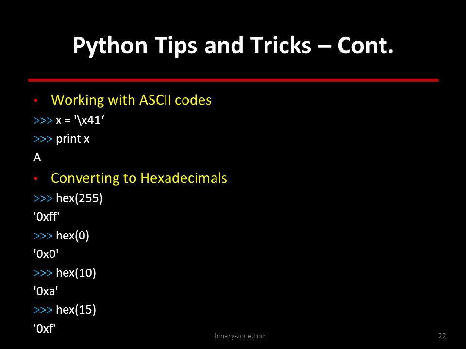 binary-zone.com22 Python Tips and Tricks – Cont.