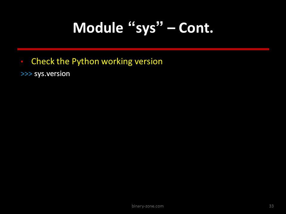 binary-zone.com33 Module sys – Cont.