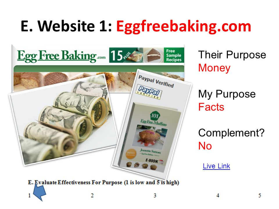 E. Website 1: Eggfreebaking.com Live Link Their Purpose Money My Purpose Facts Complement? No