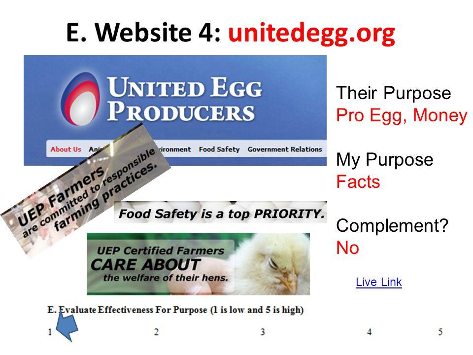 E. Website 4: unitedegg.org Live Link Their Purpose Pro Egg, Money My Purpose Facts Complement? No
