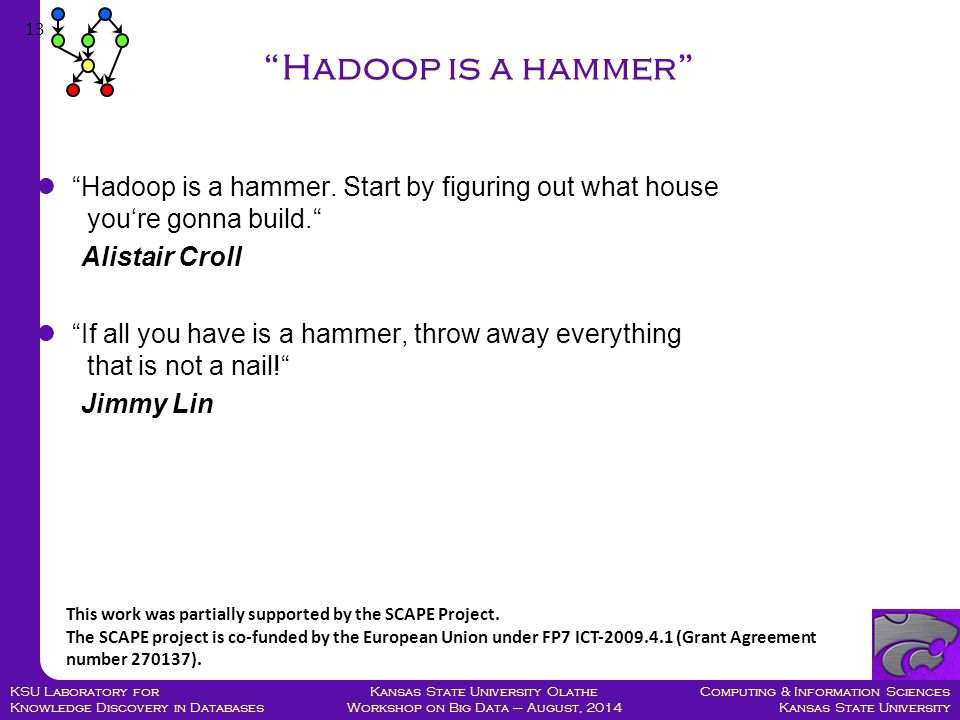 Computing & Information Sciences Kansas State University Kansas State University Olathe Workshop on Big Data – August, 2014 KSU Laboratory for Knowledge Discovery in Databases Hadoop is a hammer.