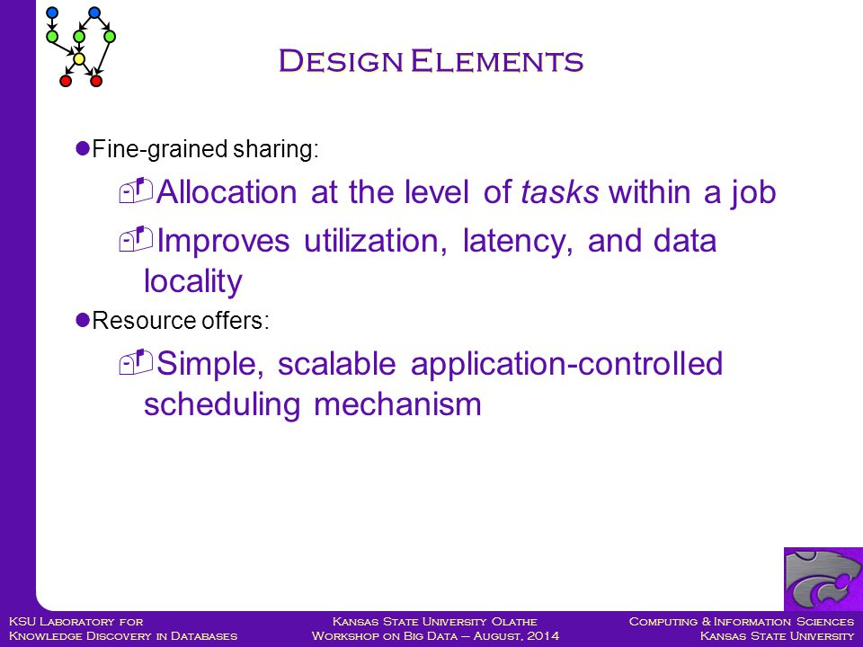 Computing & Information Sciences Kansas State University Kansas State University Olathe Workshop on Big Data – August, 2014 KSU Laboratory for Knowledge Discovery in Databases Design Elements Fine-grained sharing:  Allocation at the level of tasks within a job  Improves utilization, latency, and data locality Resource offers:  Simple, scalable application-controlled scheduling mechanism
