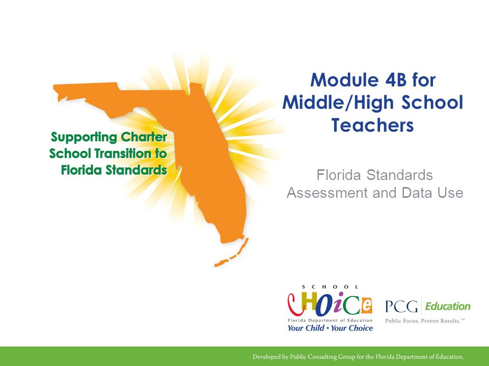 Transitioning to Florida Standards Project Overview Project is Race to the Top funded until June 2014 All charter schools eligible to participate Develop and deliver targeted training and technical assistance specific to charter schools in two major areas: 1) Implementation of the Florida Standards 2) Access and use of a Local Instructional Improvement System (LIIS) to analyze student achievement data to drive instruction and increase student academic achievement No cost to charter schools 2