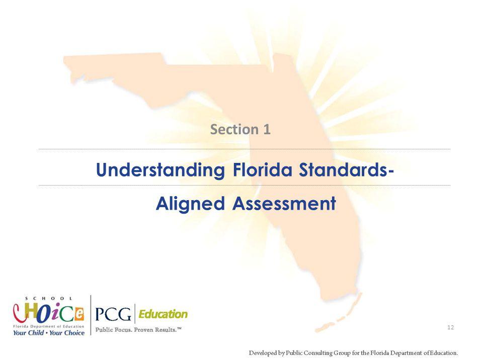 Understanding Florida Standards- Aligned Assessment 12 Section 1