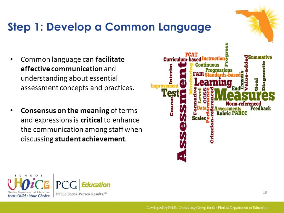 Common language can facilitate effective communication and understanding about essential assessment concepts and practices. Consensus on the meaning o
