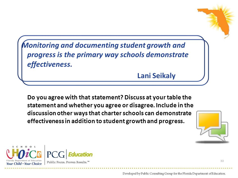 Monitoring and documenting student growth and progress is the primary way schools demonstrate effectiveness. Lani Seikaly Do you agree with that state