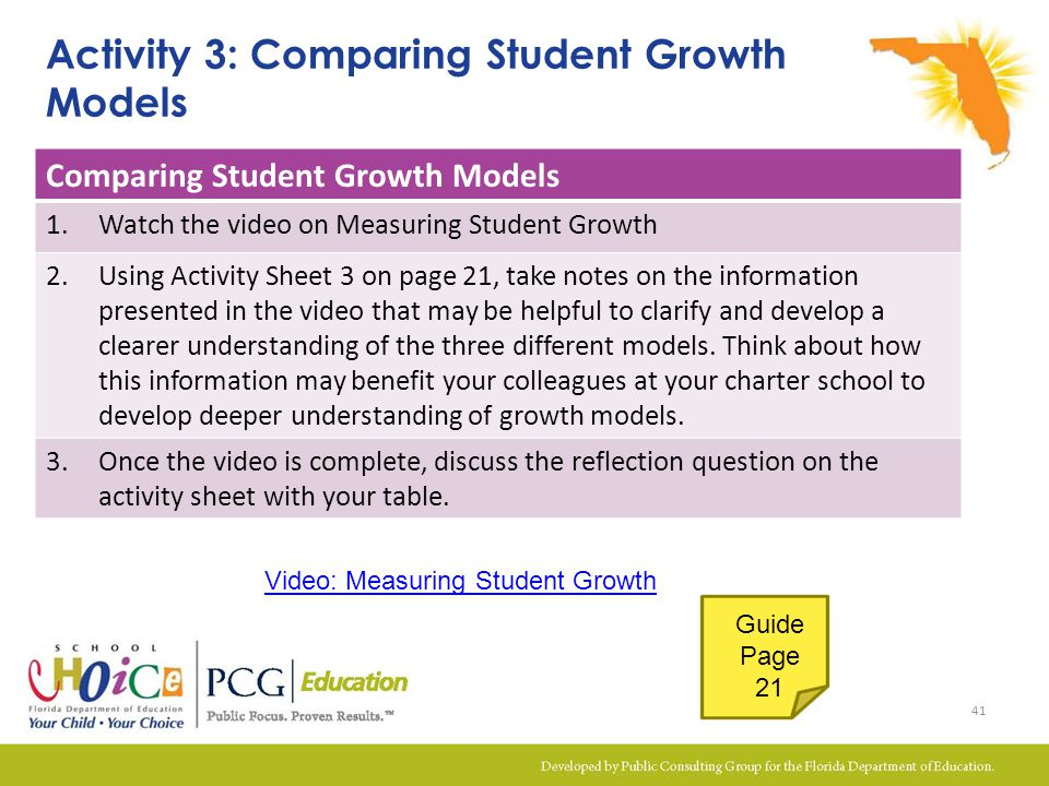 Activity 3: Comparing Student Growth Models Comparing Student Growth Models 1.Watch the video on Measuring Student Growth 2.Using Activity Sheet 3 on