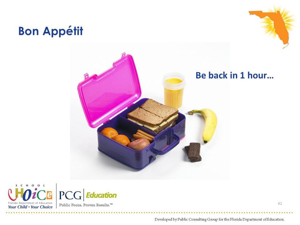 Bon Appétit 42 Be back in 1 hour…