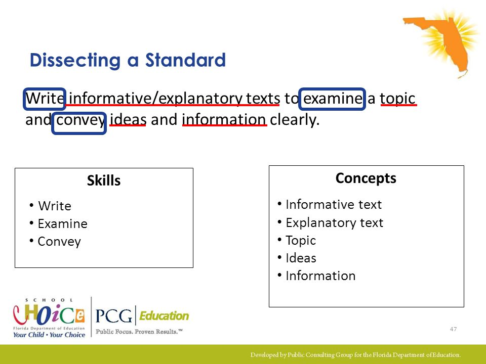 Skills Dissecting a Standard Concepts Write Examine Convey Informative text Explanatory text Topic Ideas Information Write informative/explanatory tex