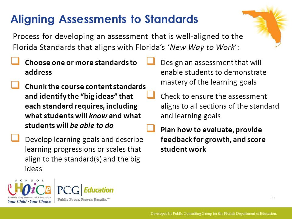 Aligning Assessments to Standards Process for developing an assessment that is well-aligned to the Florida Standards that aligns with Florida's 'New W