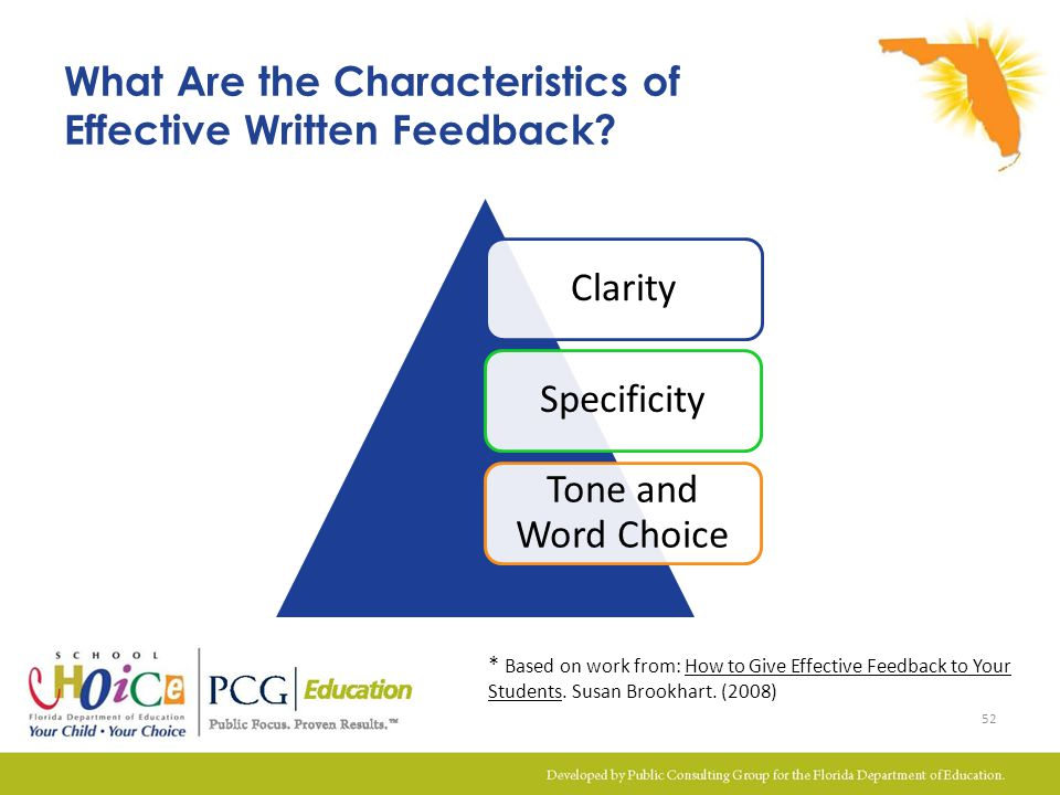 ClaritySpecificity Tone and Word Choice What Are the Characteristics of Effective Written Feedback? 52 * Based on work from: How to Give Effective Fee