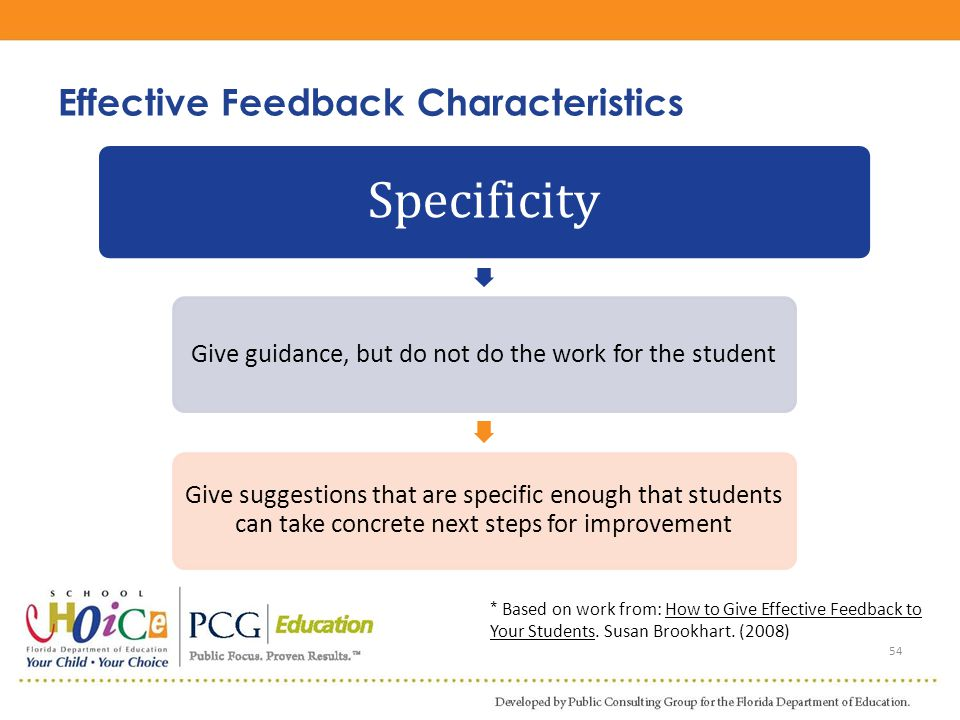 54 Specificity Give guidance, but do not do the work for the student Give suggestions that are specific enough that students can take concrete next st