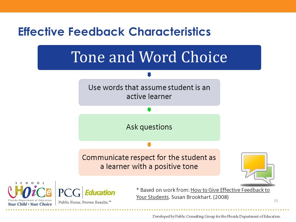 55 Tone and Word Choice Use words that assume student is an active learner Ask questions Communicate respect for the student as a learner with a posit