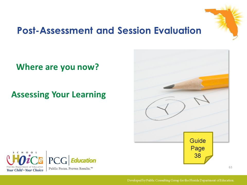 Where are you now? Assessing Your Learning Post-Assessment and Session Evaluation 63 Guide Page 38