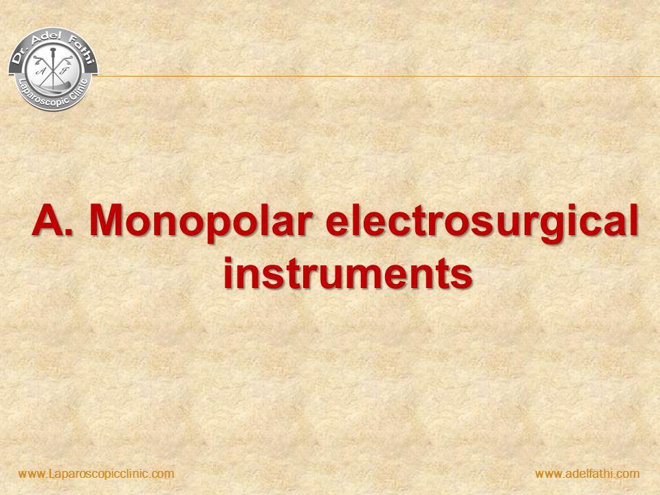 www.Laparoscopicclinic.comwww.adelfathi.com A. Monopolar electrosurgical instruments