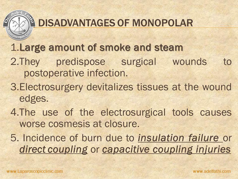 www.Laparoscopicclinic.comwww.adelfathi.com DISADVANTAGES OF MONOPOLAR Large amount of smoke and steam 1.Large amount of smoke and steam 2.They predis