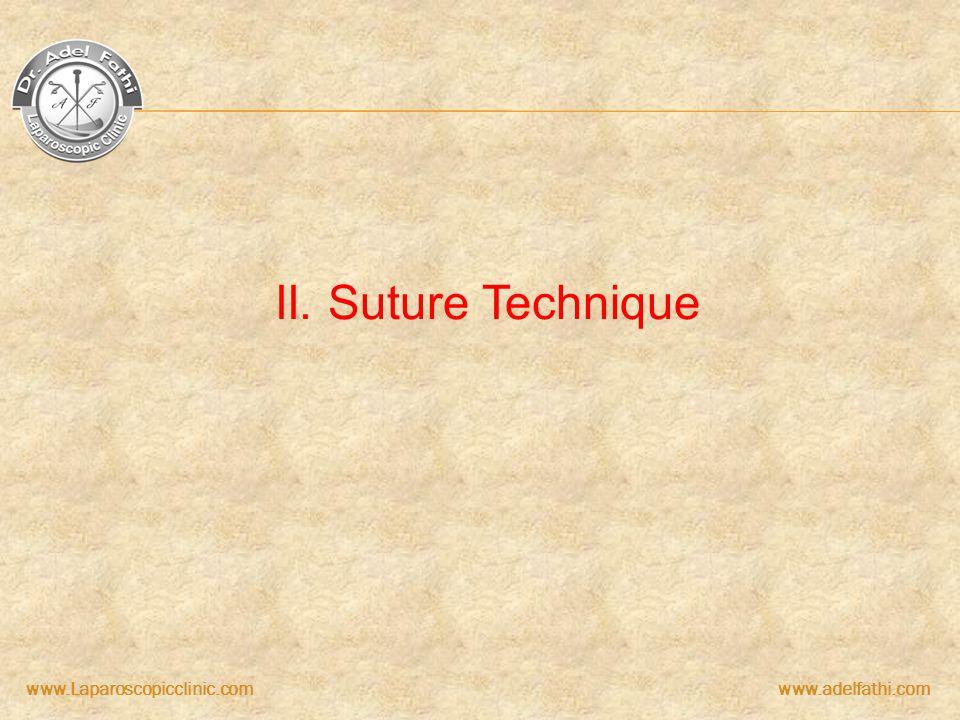 www.Laparoscopicclinic.comwww.adelfathi.com II. Suture Technique