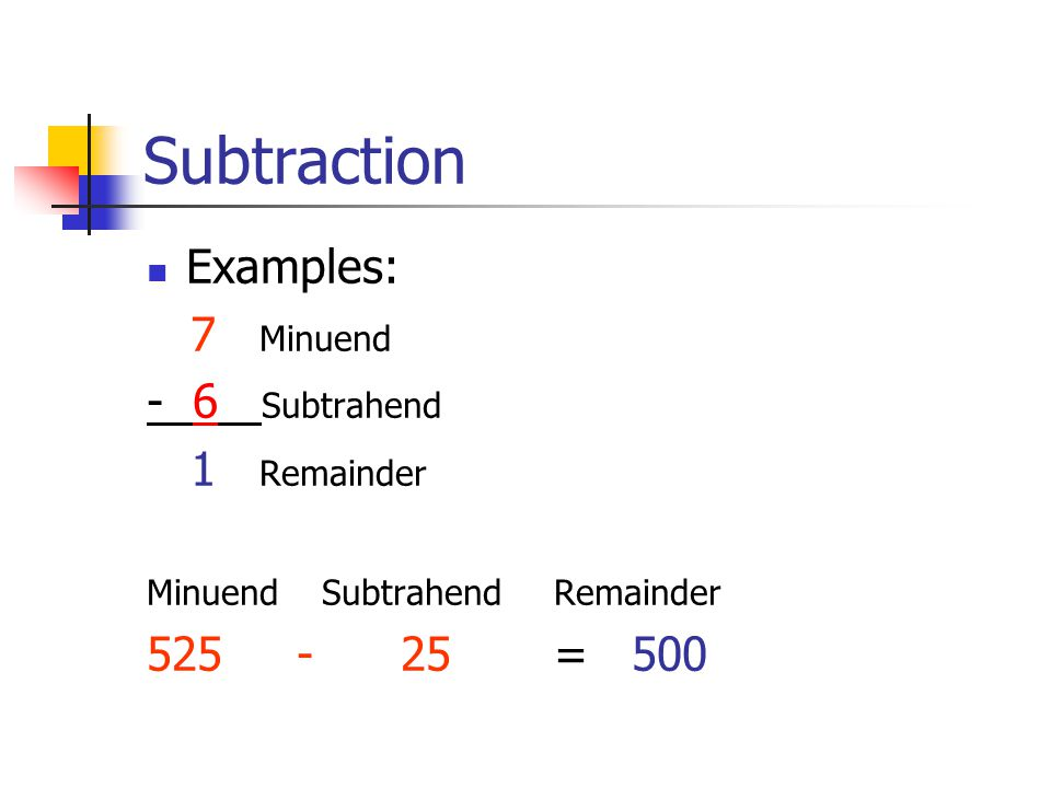 Subtraction Examples: 7 Minuend - 6 Subtrahend 1 Remainder Minuend Subtrahend Remainder 525 - 25 = 500