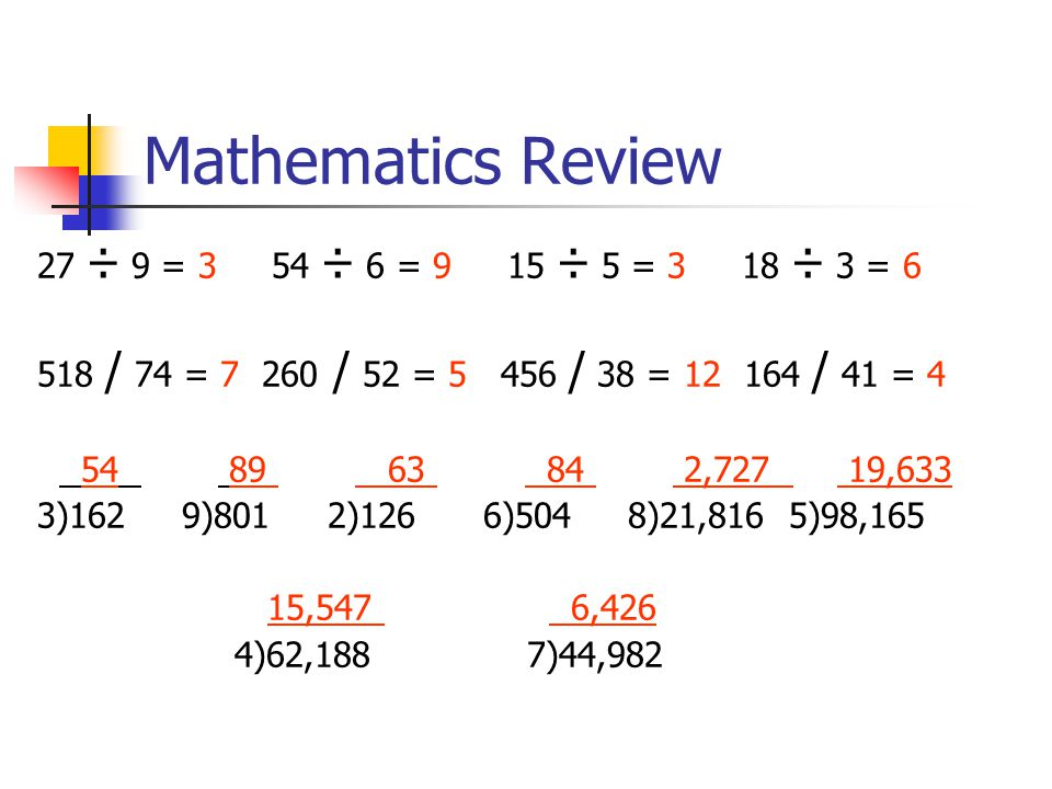 Mathematics Review 27 ÷ 9 = 3 54 ÷ 6 = 9 15 ÷ 5 = 3 18 ÷ 3 = 6 518 / 74 = 7 260 / 52 = 5 456 / 38 = 12 164 / 41 = 4 54 89 63 84 2,727 19,633 3)162 9)801 2)126 6)504 8)21,816 5)98,165 15,547 6,426 4)62,188 7)44,982