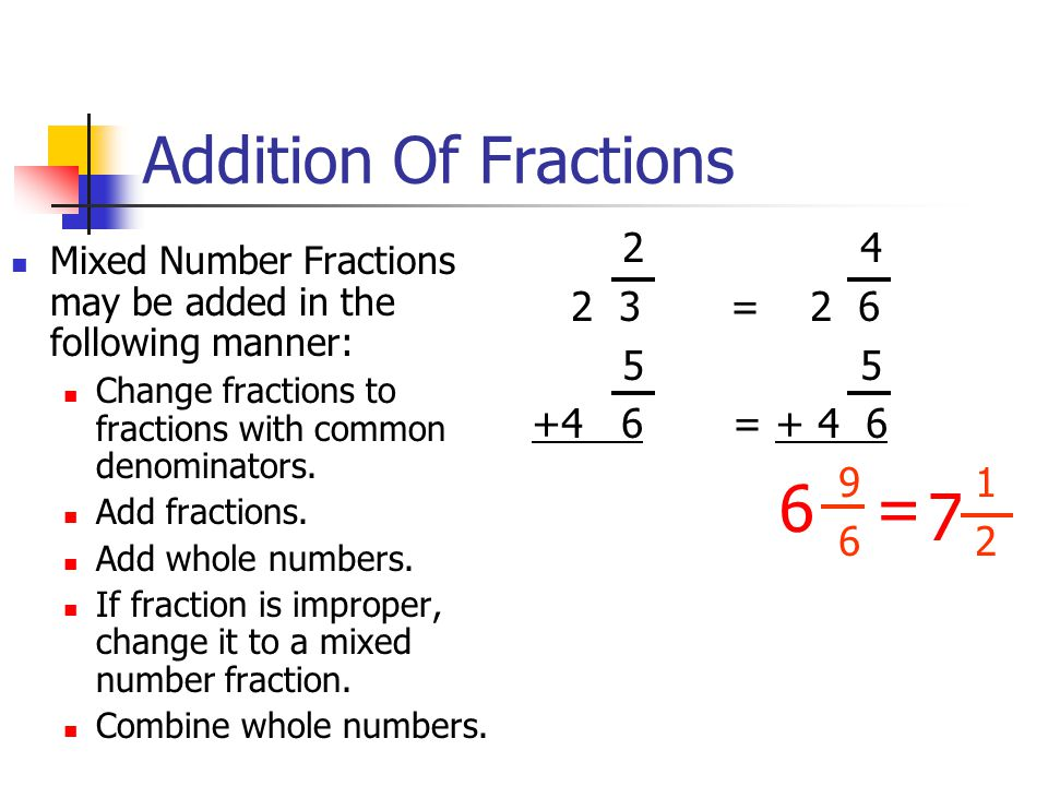 Addition Of Fractions Mixed Number Fractions may be added in the following manner: Change fractions to fractions with common denominators.