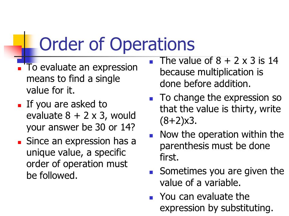 Order of Operations To evaluate an expression means to find a single value for it.