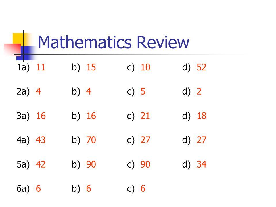 Mathematics Review 1a) 11b) 15c) 10d) 52 2a) 4b) 4c) 5d) 2 3a) 16b) 16c) 21d) 18 4a) 43b) 70c) 27d) 27 5a) 42b) 90c) 90d) 34 6a) 6b) 6c) 6
