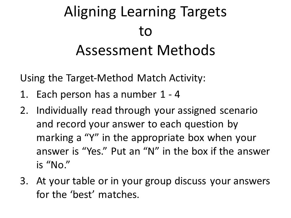 Aligning Learning Targets to Assessment Methods Using the Target‐Method Match Activity: 1.Each person has a number 1 ‐ 4 2.Individually read through y