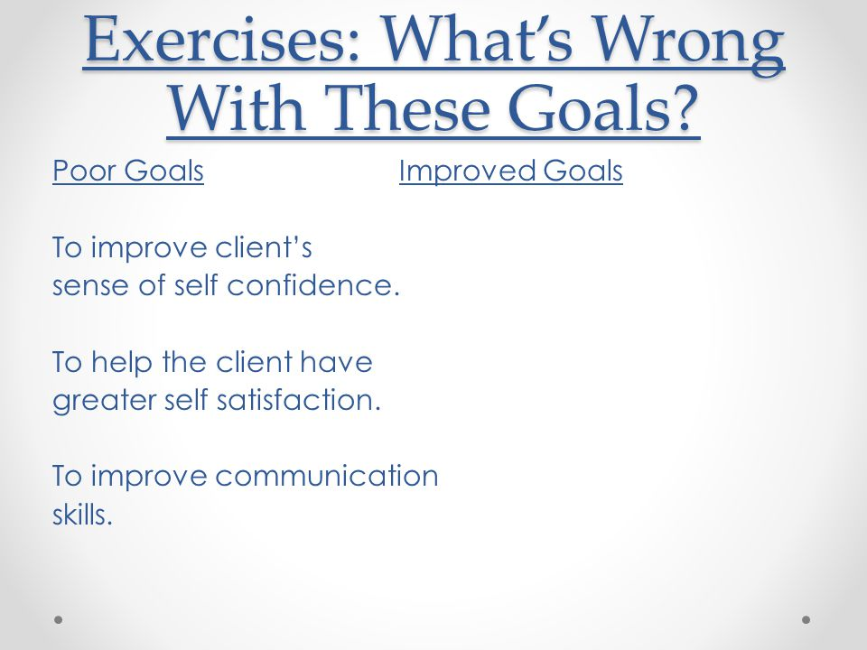 Exercises: What's Wrong With These Goals.