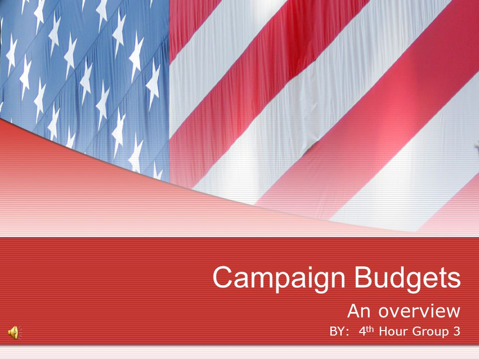An overview BY: 4 th Hour Group 3 Campaign Budgets