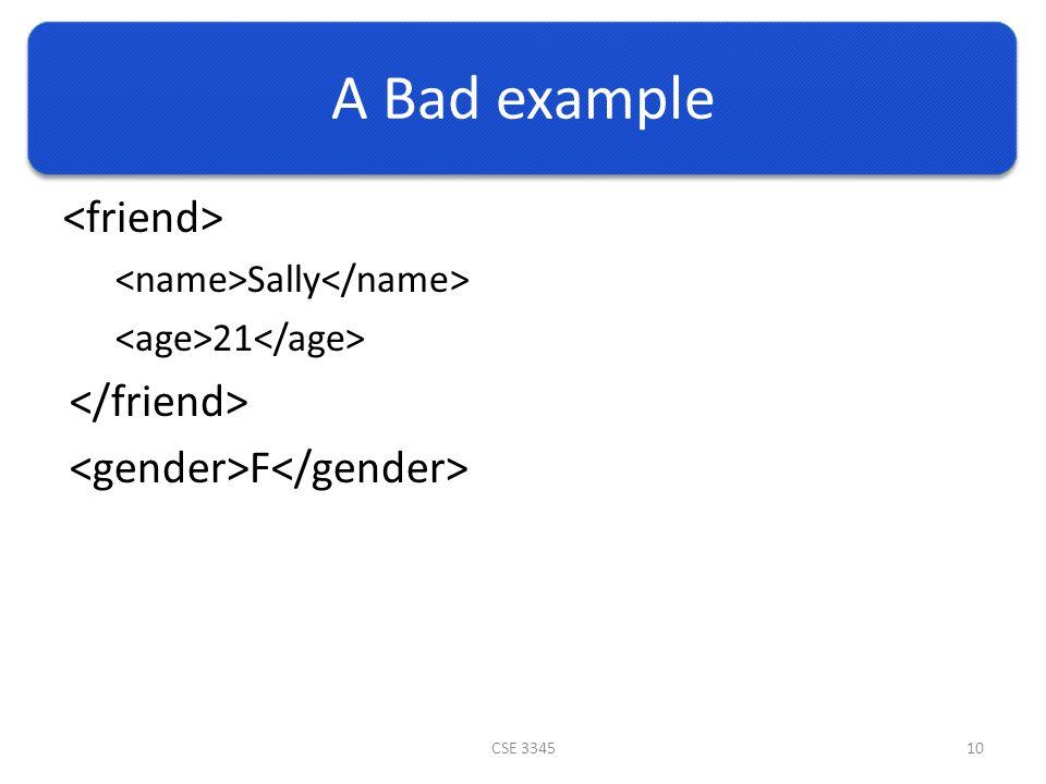 A Bad example Sally 21 F CSE 334510
