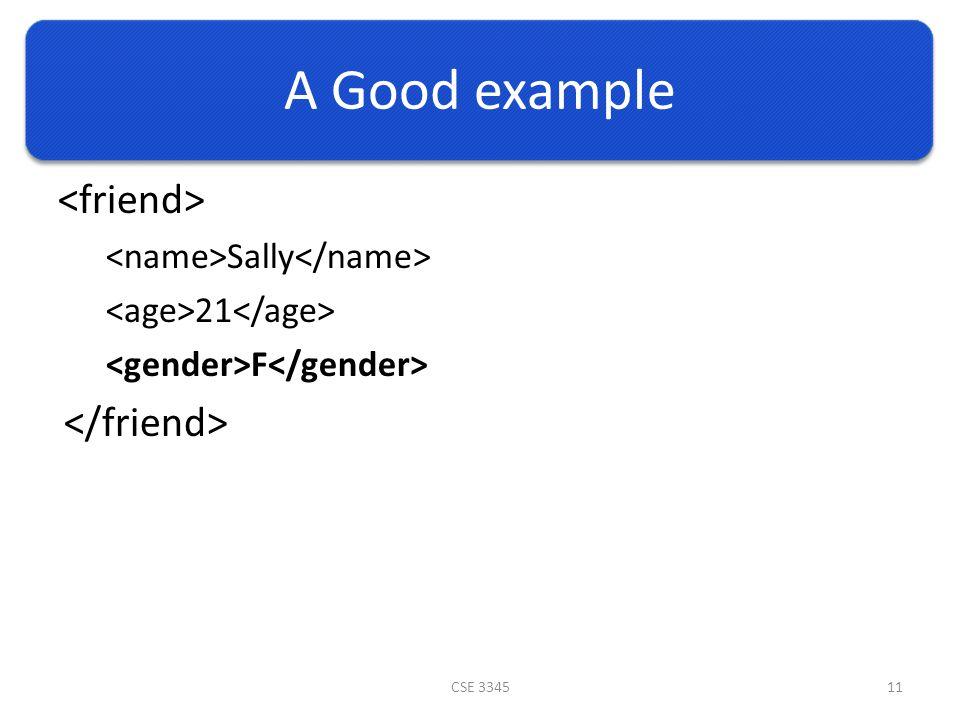 A Good example Sally 21 F CSE 334511