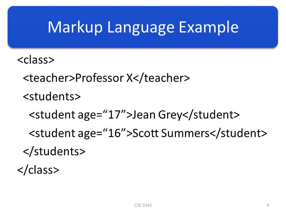 Markup Language Example Professor X Jean Grey Scott Summers CSE 33454