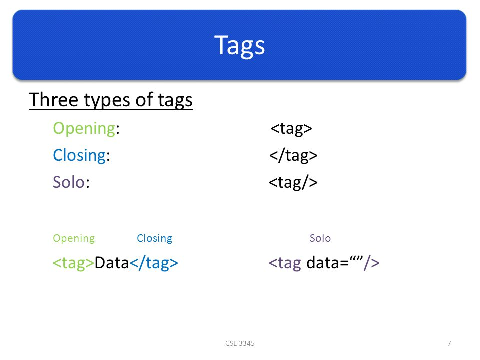 Tags Three types of tags Opening: Closing: Solo: Data CSE 33457 OpeningClosingSolo